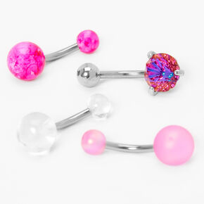 Piercings de nombril pierre aux designs variés 1,6mm couleur argentée - Rose, lot de 4,