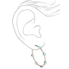 Silver 40MM Stone Hoop Earrings - Turquoise,