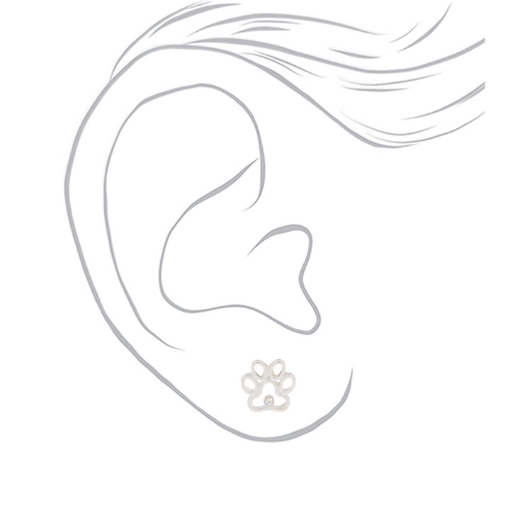 Silver Paw Print Stud Earrings,