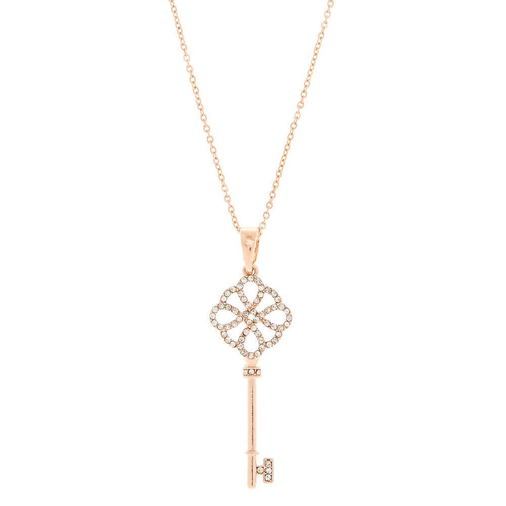 Claires Girls Long Rose Gold Key Pendant Necklace