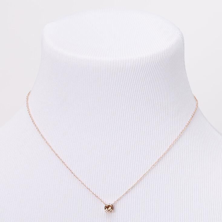 Rose Gold Cubic Zirconia 6MM Single Rhinestone Pendant Necklace,