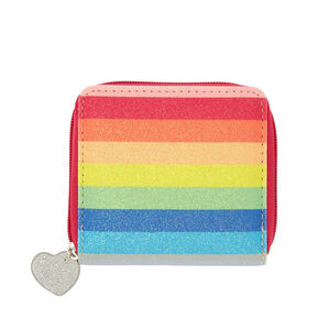 Rainbow Glitter Striped Mini Zip Wallet,