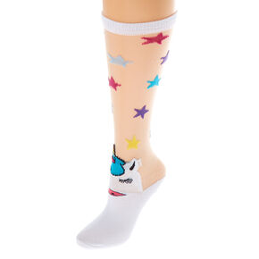 d43ad49db Sheer Unicorn Star Knee High Socks - White