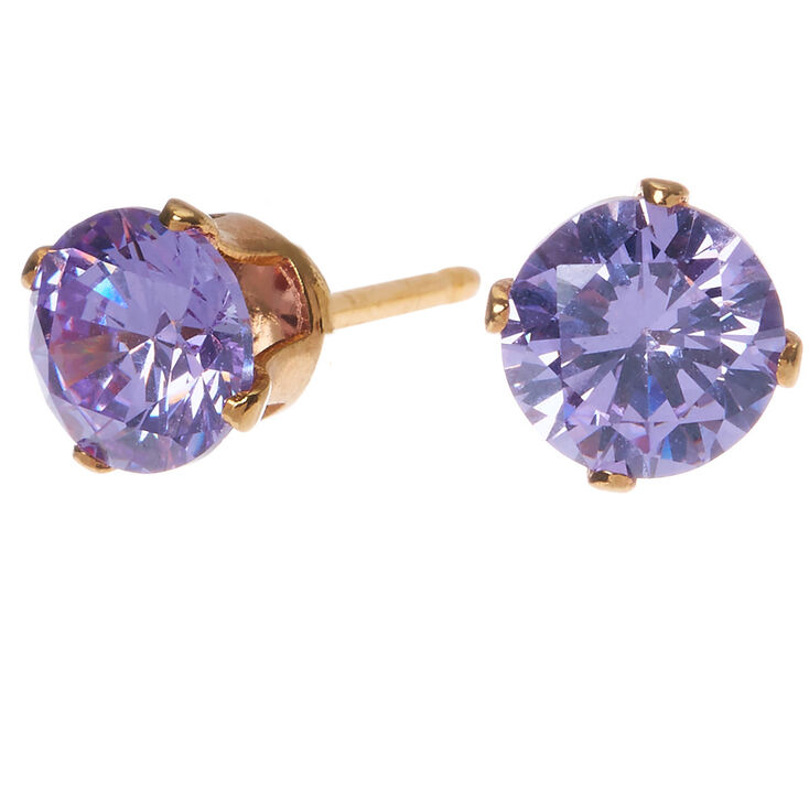 18kt Gold Plated Cubic Zirconia 6mm Round Stud Earrings Lavender