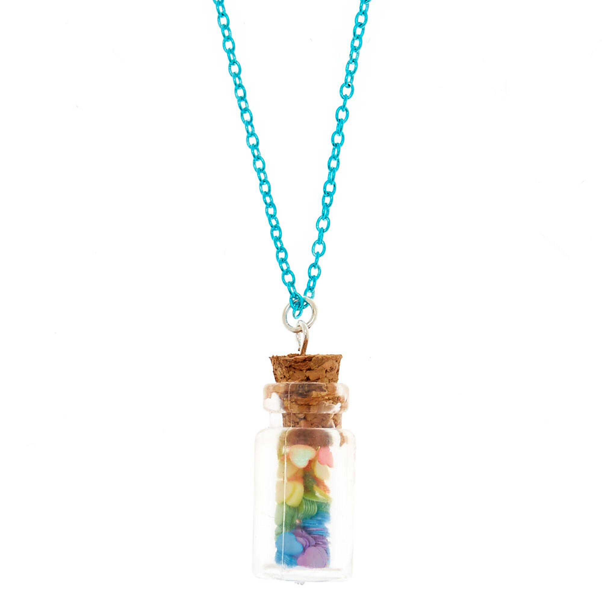 Rainbow Heart Confetti Bottle Pendant Necklace