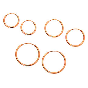 18kt Rose Gold Plated Graduated Sleek Hoop Earrings - 3 Pack,