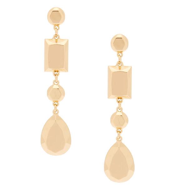 """Claire's - 3"""" metallic shape drop earrings - 1"""