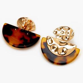 "Gold 1.5"" Half Moon Tortoiseshell Clip On Drop Earrings,"