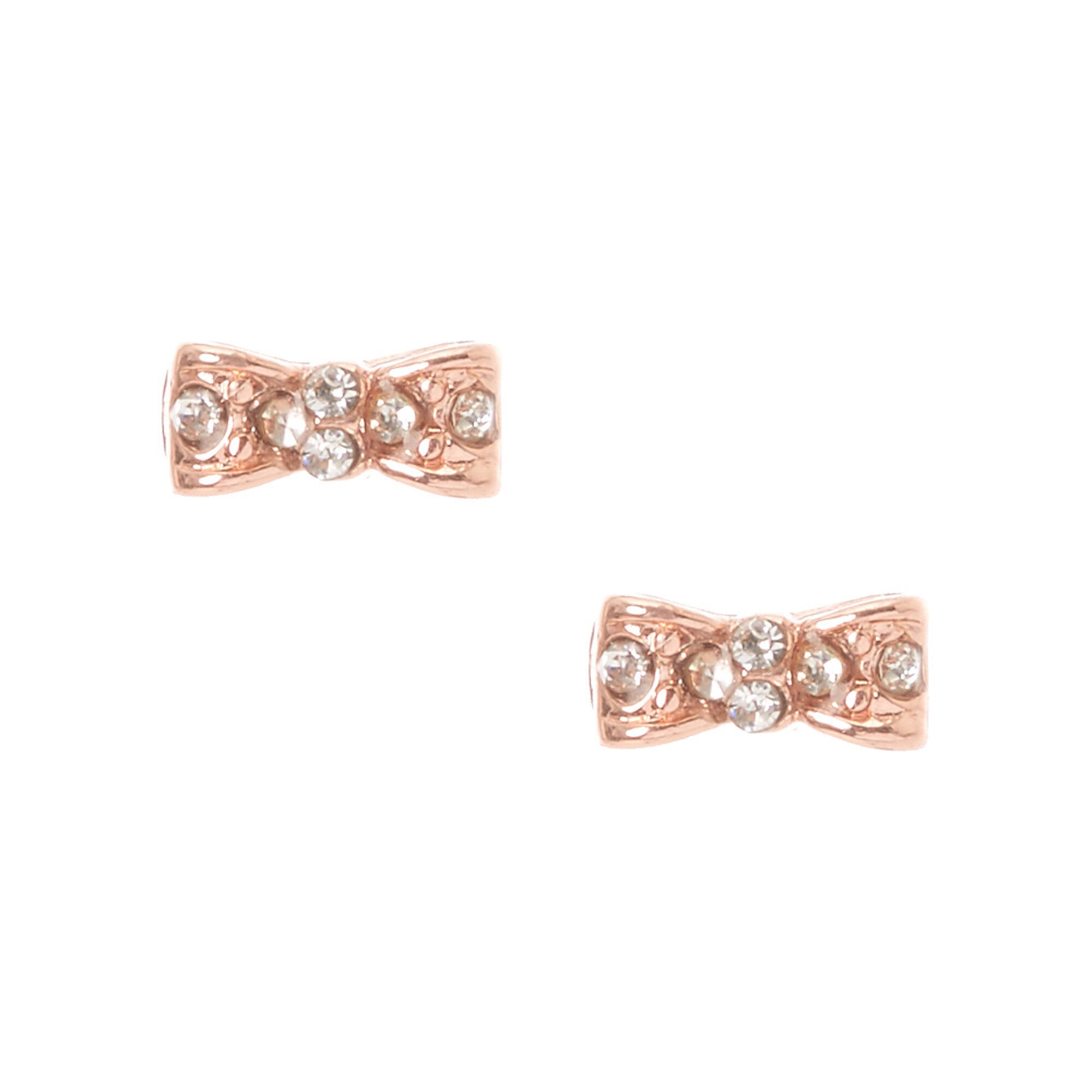 18kt Gold Plated Rose Crystal Bow Earrings