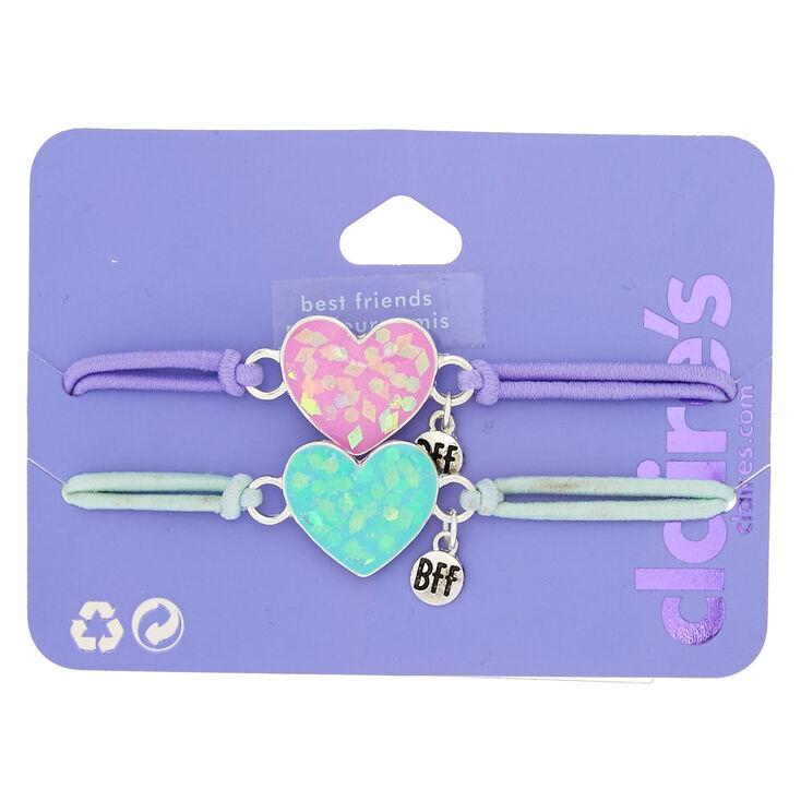 Holographic Heart Stretch Friendship Bracelets - 2 Pack,
