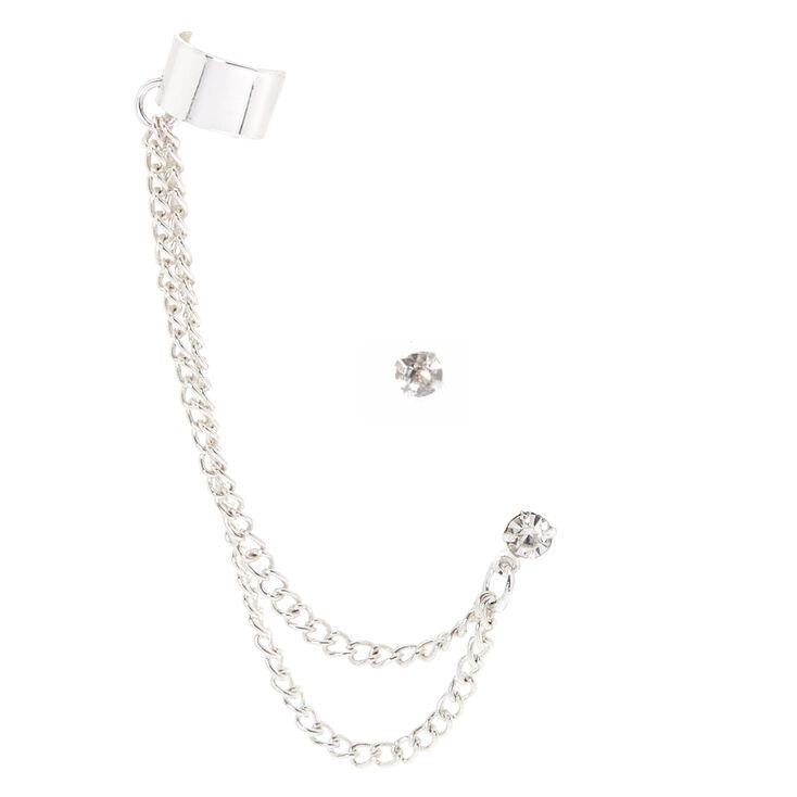 Silver Ear Connector Crystal Stud Earrings,