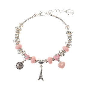 Bracelet à breloques tour Eiffel couleur argentée - Rose,