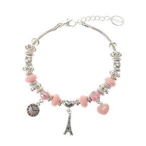 Silver Eiffel Tower Charm Bracelet - Pink,