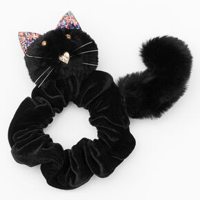 Medium Plush Cat Hair Scrunchie - Black,