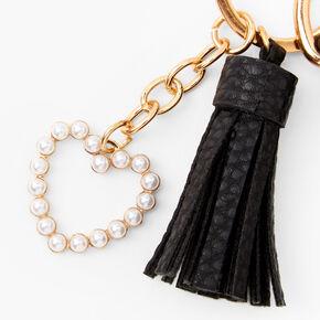 Gold Pearl Heart Multi Charm Keychain,