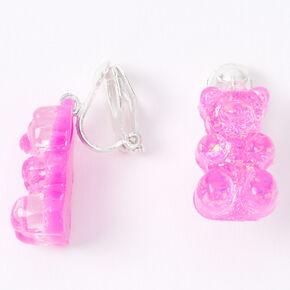 """Silver 0.5"""" Gummy Bear Clip On Drop Earrings - Purple,"""