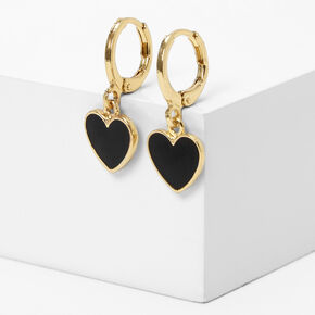 Gold 10MM Heart Drop Huggie Hoop Earrings,