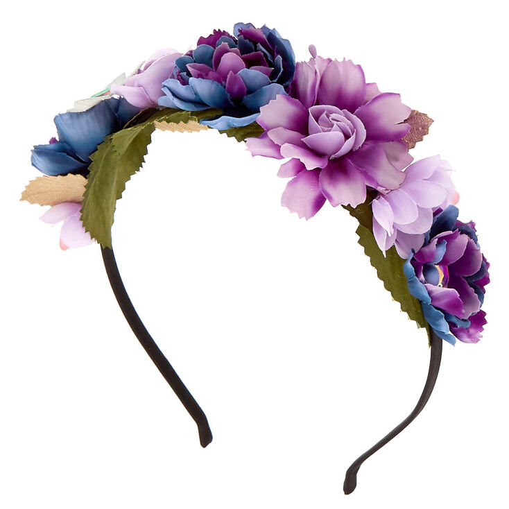 Metallic Galaxy Flower Crown Headband - Purple,