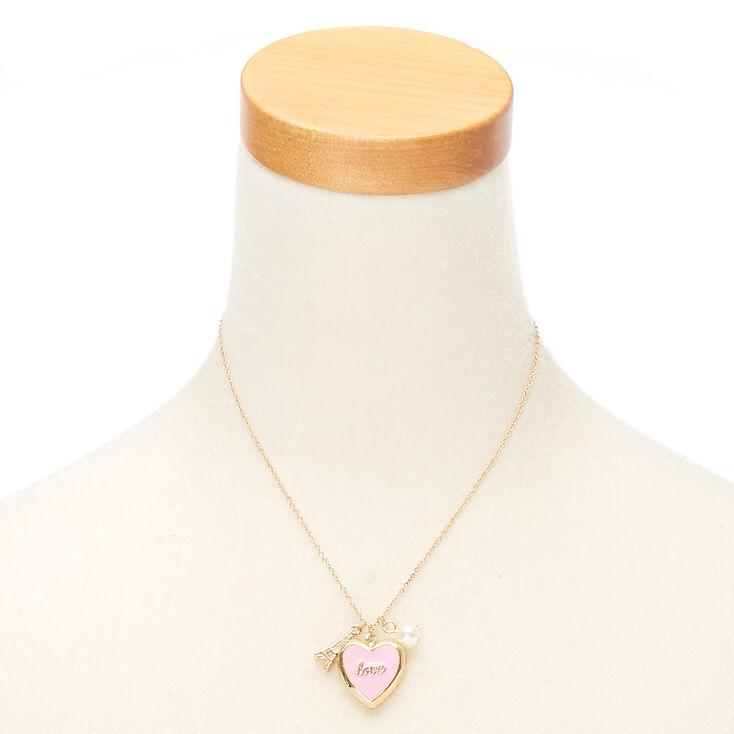 Love Paris Locket Pendant Necklace - Pink,