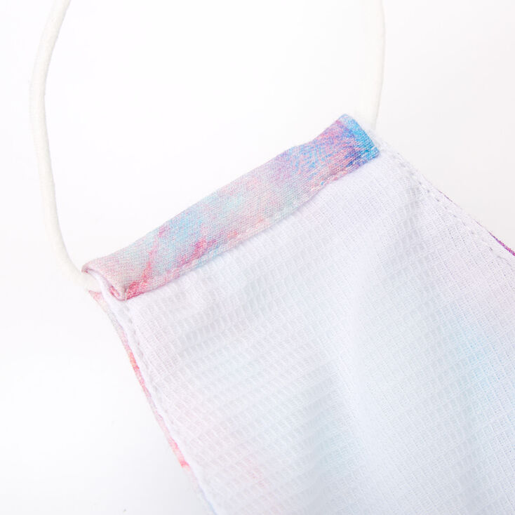 Cotton Blue & Purple Marble Print Face Mask - Adult,