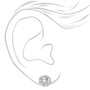 Silver Round Cubic Zirconia Halo Stud Earrings,