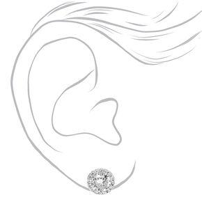 Clous d'oreilles halo strass en zircon cubique d'imitation couleur argentée,