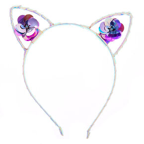 Holographic Sequin Flowers Cat Ears Headband - Purple,