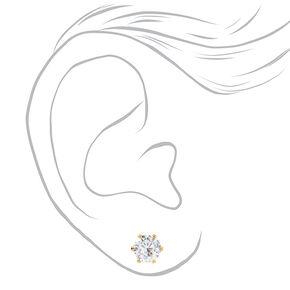 18kt Gold Plated Cubic Zirconia Round Stud Earrings - 7MM,