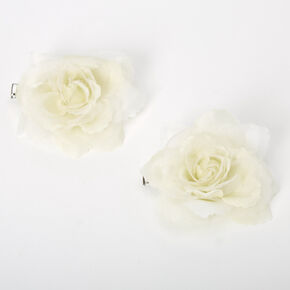 Mini Pastel Rose Hair Clips - Yellow, 2 Pack,