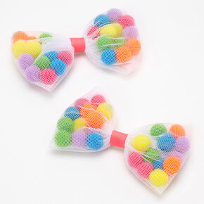 Rainbow Pom Pom Shakey Bow Hair Clips - 2 Pack,