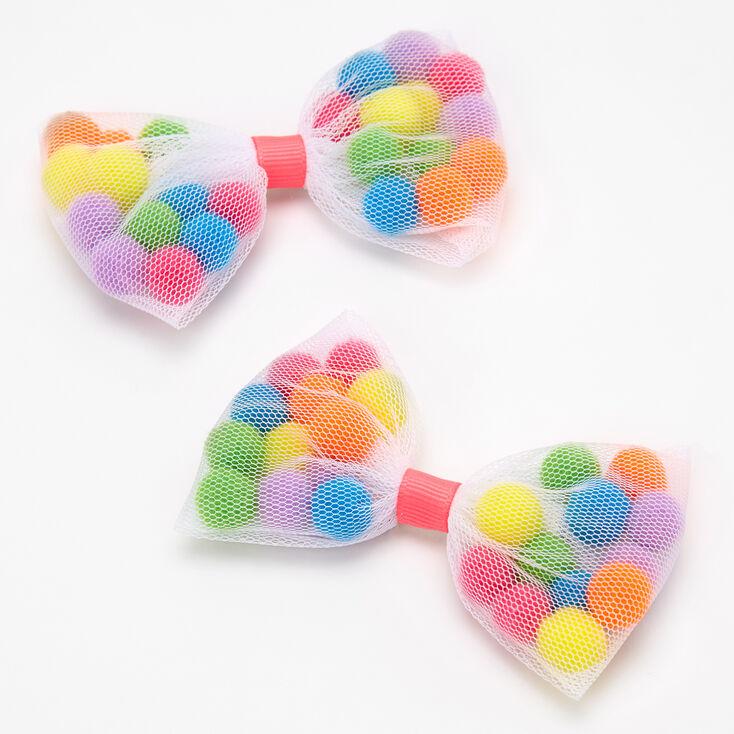 Rainbow Pom Pom Shakey Bow Hair Clips - 2 Pack,