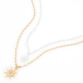 Mixed Metal Starburst Pendant Necklaces - 2 Pack,