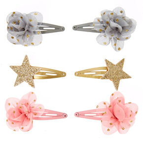 Claire's Club Chiffon Flower & Star Hair Clips - 6 Pack,