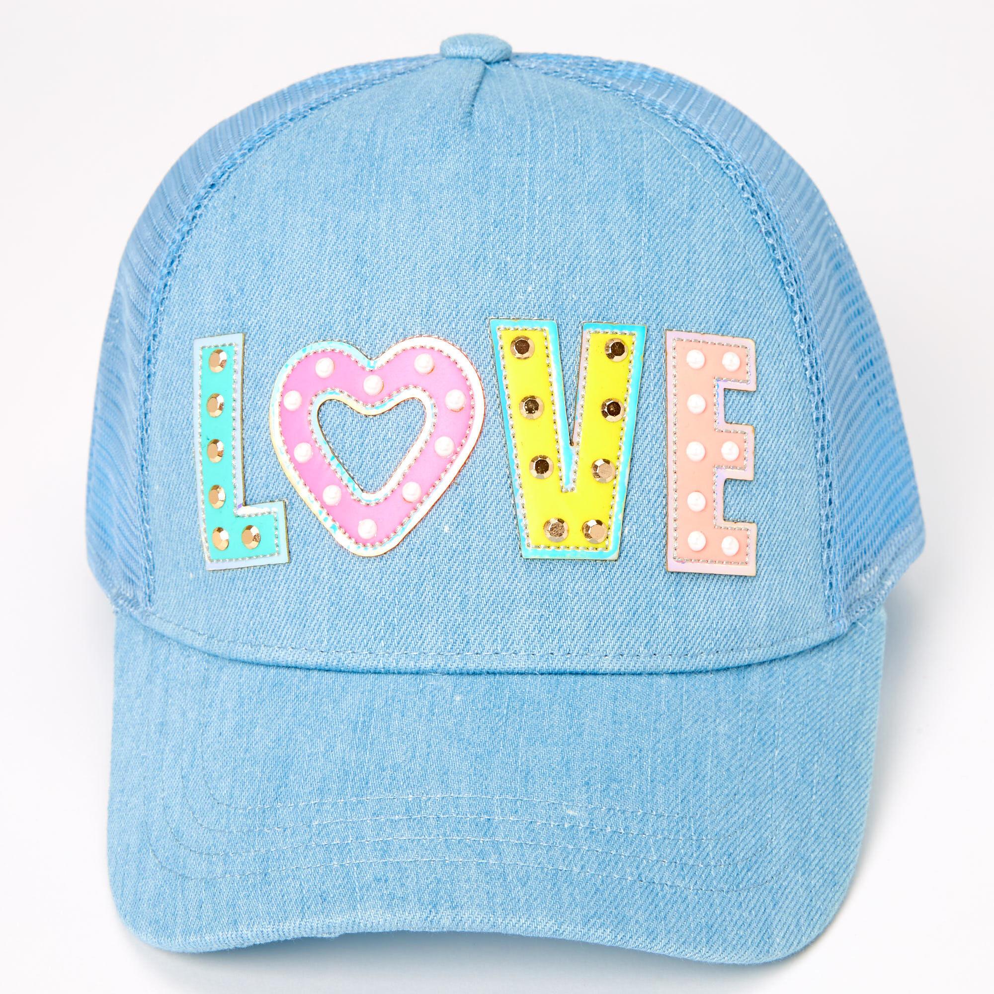 Love Studded Denim Trucker Hat Blue