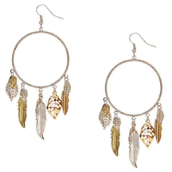 Claire's - laser cut hoops with leaf fringe - 1