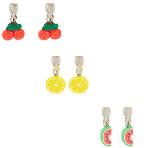 Glitter Fruit Clip On Earrings - 3 Pack,