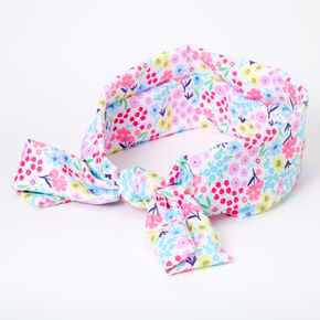 Claire's Club Floral Knotted Bow Headwrap - White,