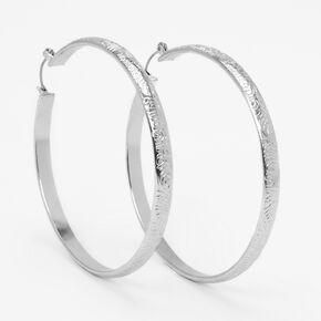 Silver 60MM Swirl Embossed Hoop Earrings,