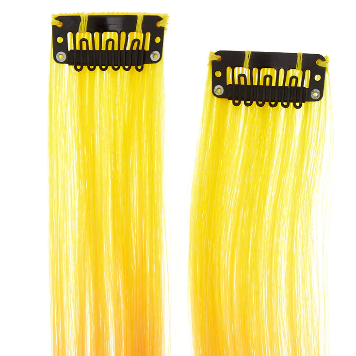 Rainbow Ombre Faux Hair Clip In Extensions - 2 Pack,