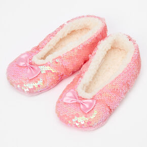 Claire's Club Plush Sequin Slippers - Pink,