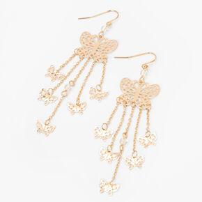 """Gold 3"""" Filigree Butterfly Dangle Drop Earrings,"""