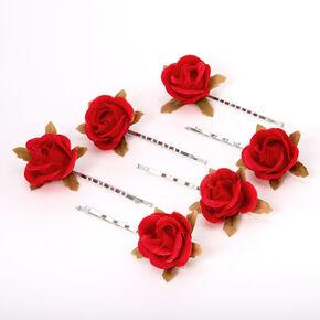 Ruby Red Rose Flower Hair Pins - 6 Pack,