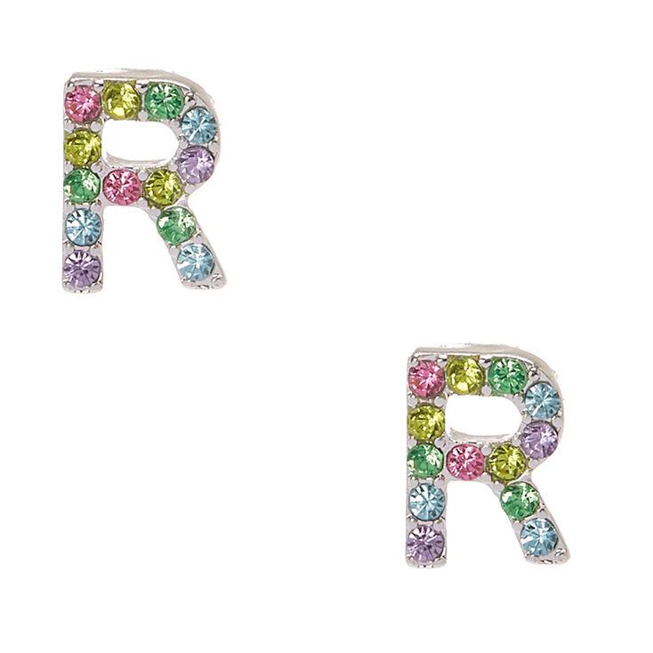 Silver-Tone Pastel R Initial Stud Earrings,