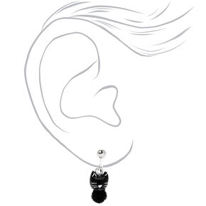 Silver Cat Pom Pom Clip On Stud Earrings - Black,