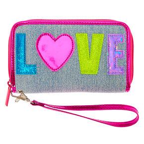 Rainbow Love Denim Wristlet - Pink,
