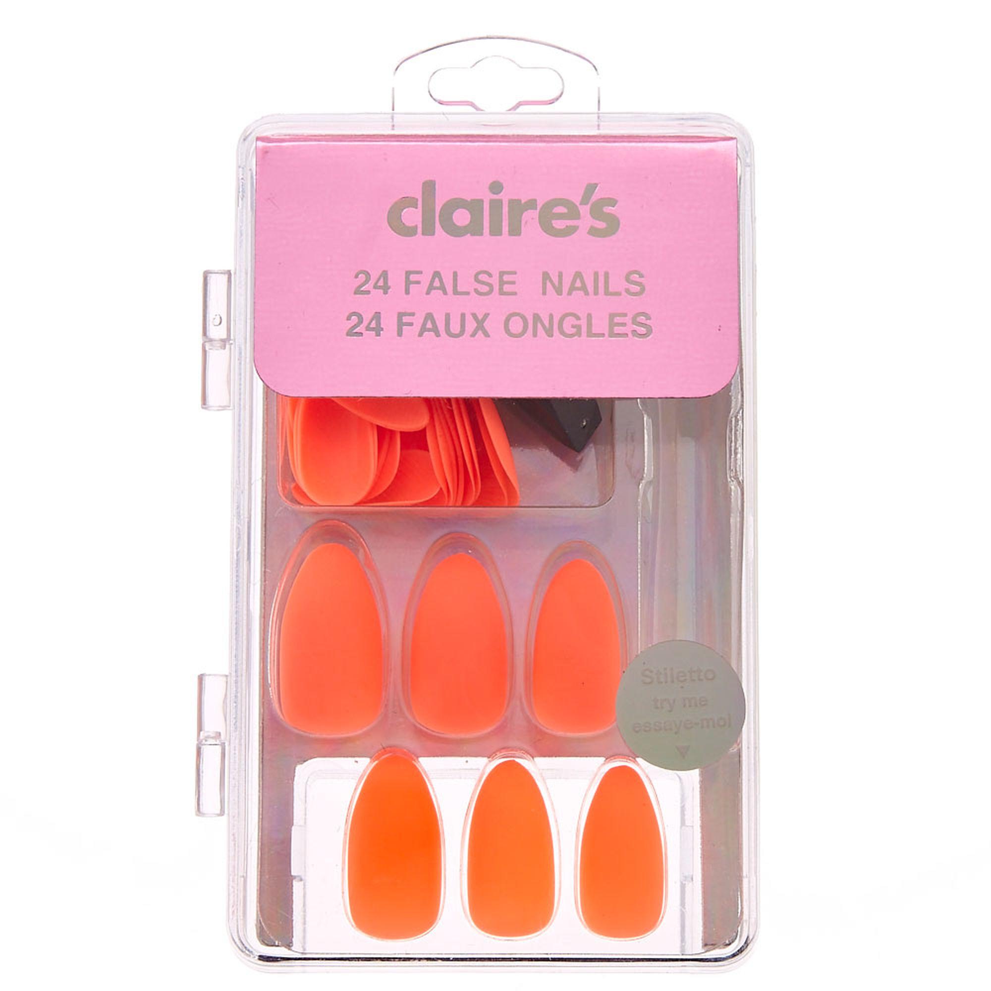 Neon Orange Matte False Nails | Claire\'s