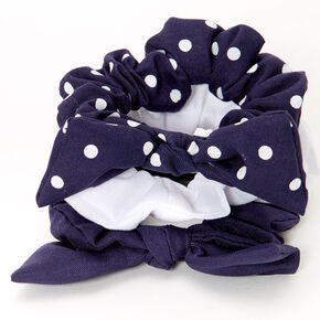 Claire's Club Small Solid Polka Dot Hair Scrunchies - Navy, 3 Pack,