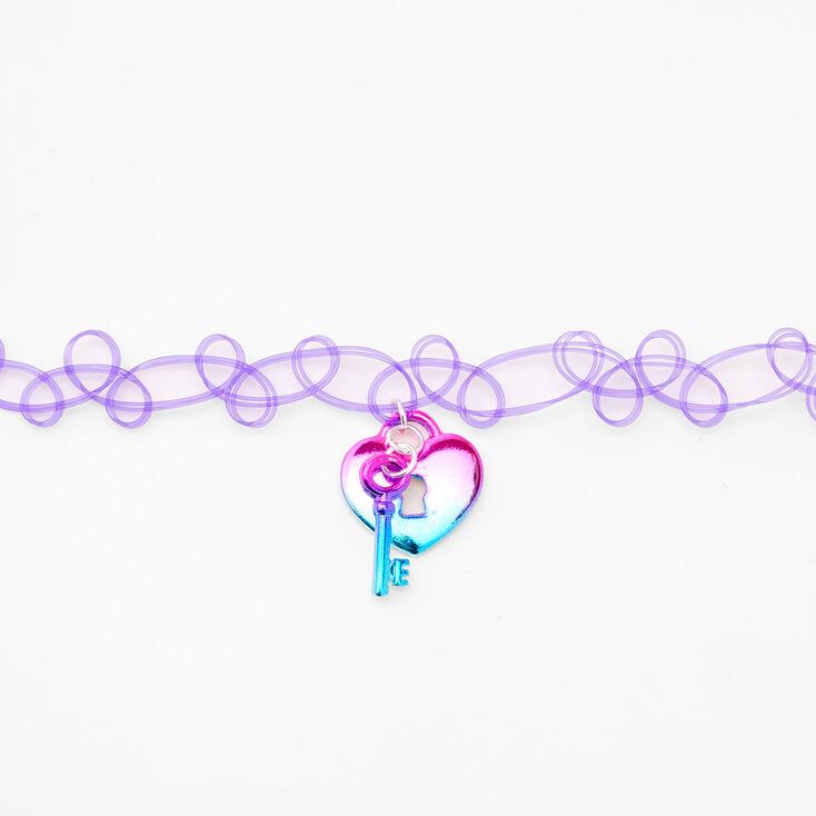 Heart Lock and Key Choker Necklace - Purple,
