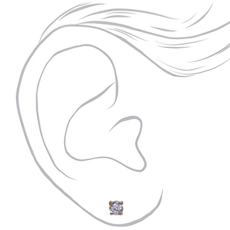Clous d'oreilles ronds avec strass en zircon cubique d'imitation couleur doré rose - 5mm,
