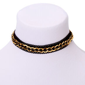 Gold Fishnet Chain Choker Necklace - Black,